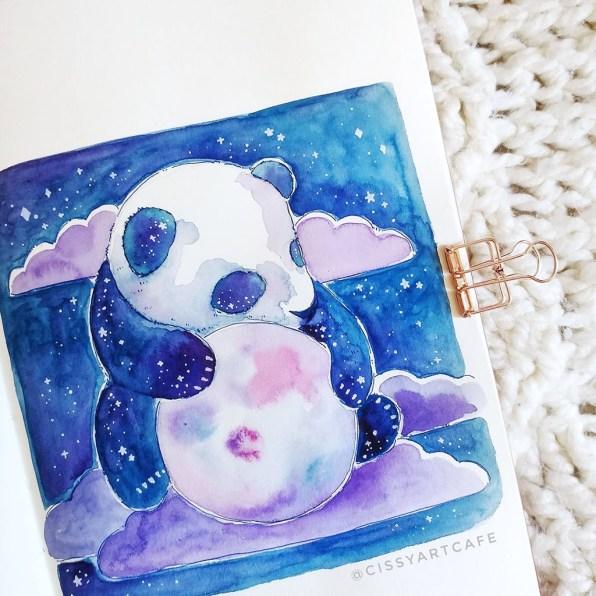 Watercolor Panda by Cecile Lu - Doodlewash