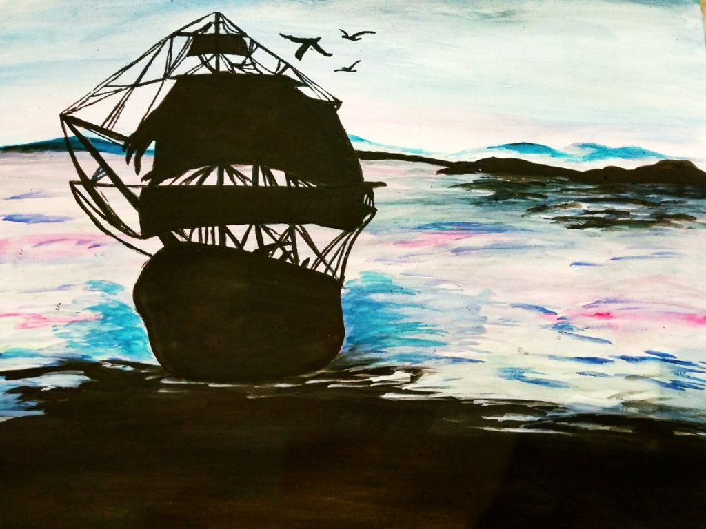 """It's a seascape with watercolours titled""""Towards destination."""" The beautiful colou"""