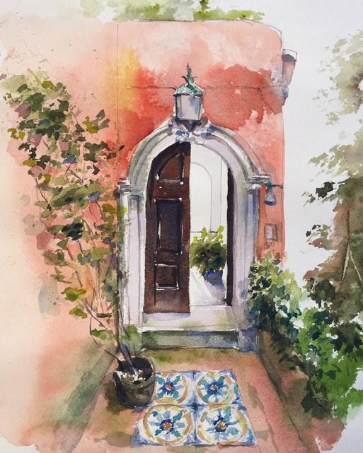 Watercolor Painting by Jim Huppenthal - Door