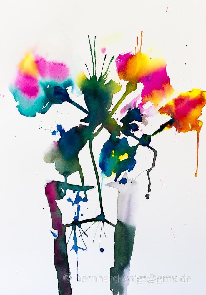 Abstrakte Sommerblumen I Aquarell, mouldmade, Fabriano Artistico extra white, fein, cold pressed, 35