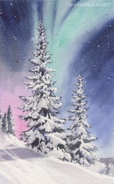 Northern Lights Watercolor by Amy Giglio - Doodlewash