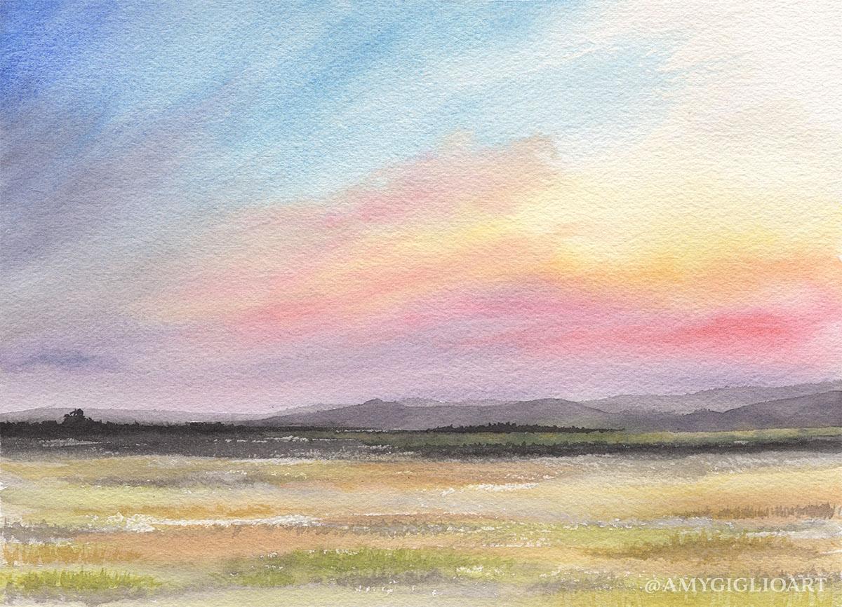 Pastel Landscape Watercolor by Amy Giglio - Doodlewash