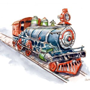 Riding-On-Toy-Trains-Signed_Watercolor Print Detail