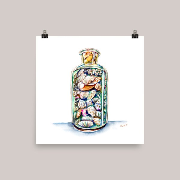 Seashells In A Bottle Watercolor Print - Charlie O'Shields - Doodlewash