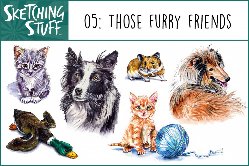 Sketching Stuff Episode 05 Artwork Those Furry Friends - Doodlewash
