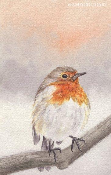 Winter Robin Watercolor by Amy Giglio - Doodlewash