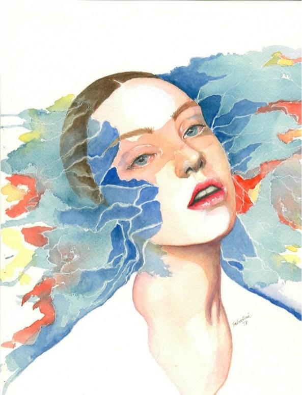 Blue And Orange Woman Watercolor by Bernadette Sabatini - Doodlewash