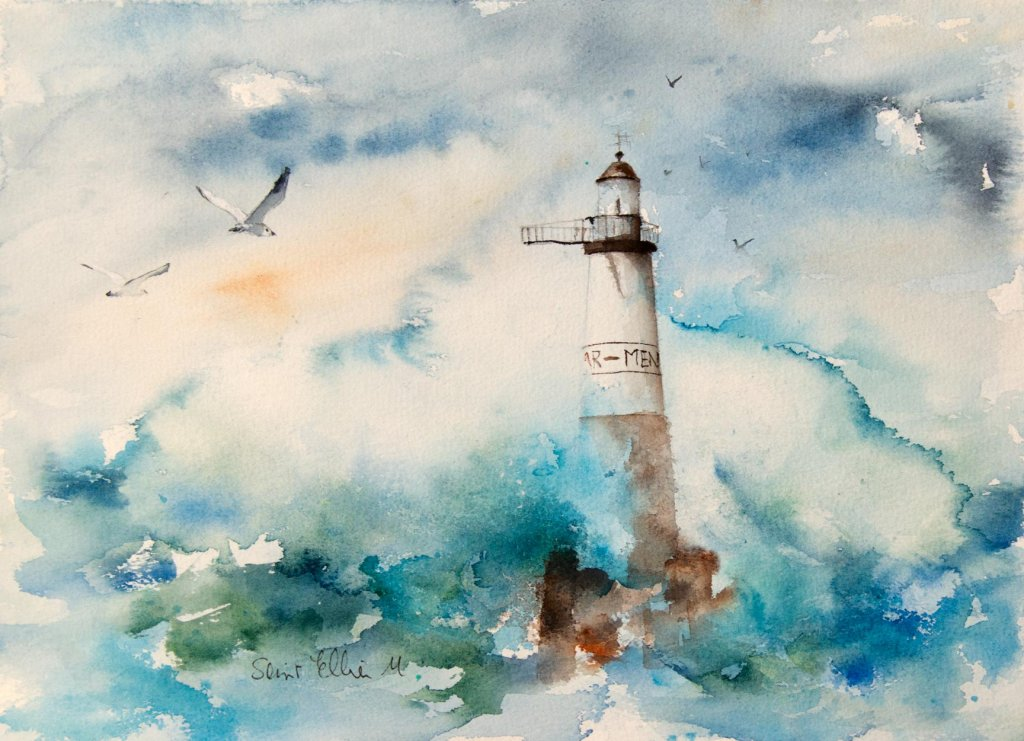 Lighthouse Watercolor Painting by Martine Jacquel Saint Ellier - France