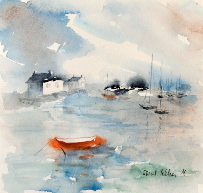 Red Boat Watercolor Painting by Martine Jacquel Saint Ellier - France