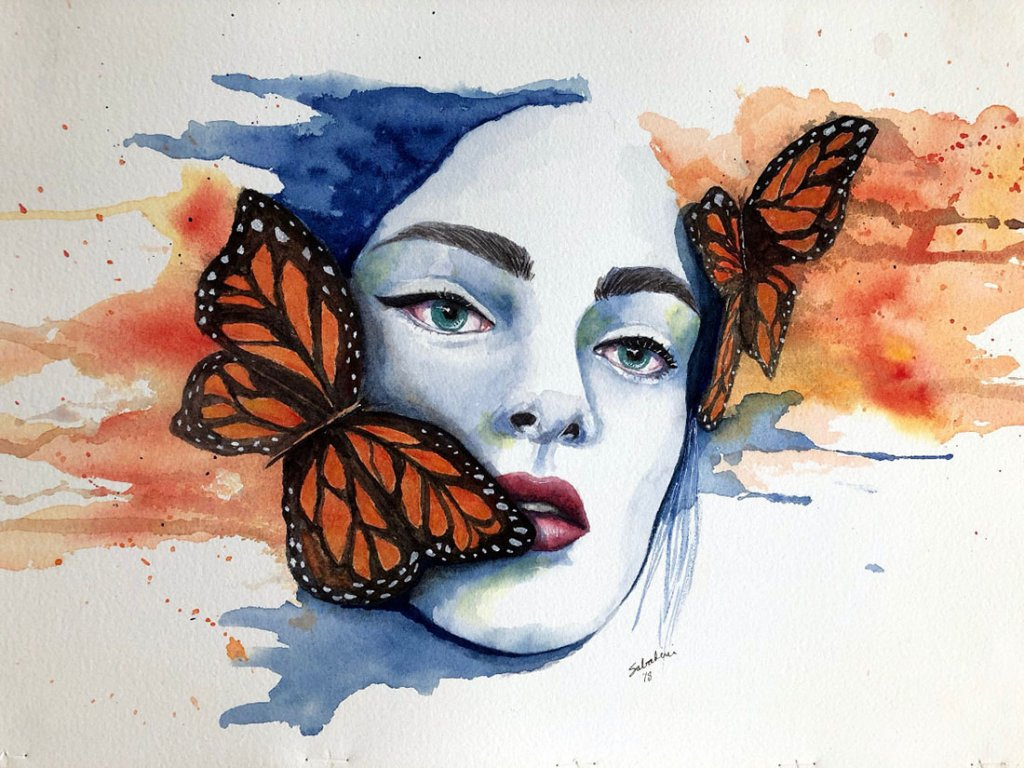 Butterfly Woman Watercolor by Bernadette Sabatini - Doodlewash