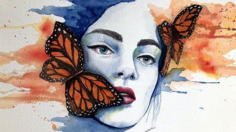 Butterfly Woman Watercolor by Bernadette Sabatini - Doodlewash