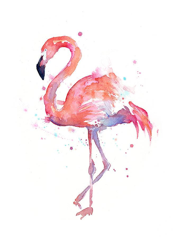 – #18Day #ExoticAnimal #WorldWaterColorMonth #DoodleWashAugust2018 flamingo-watercolor-olga-sh