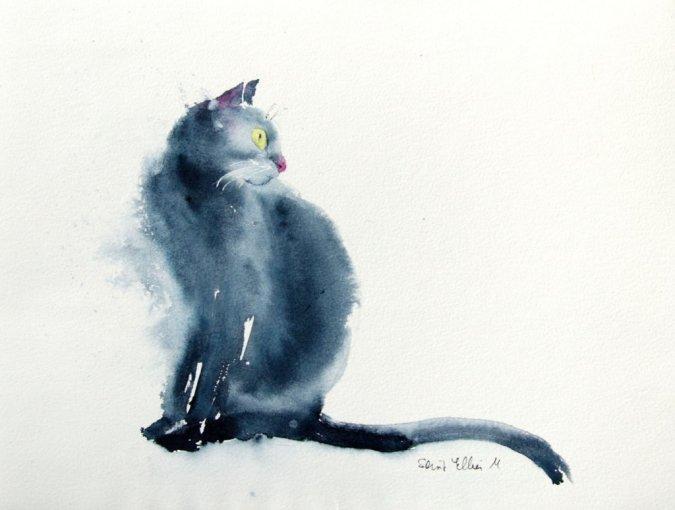 Black Cat Watercolor Painting by Martine Jacquel Saint Ellier - France