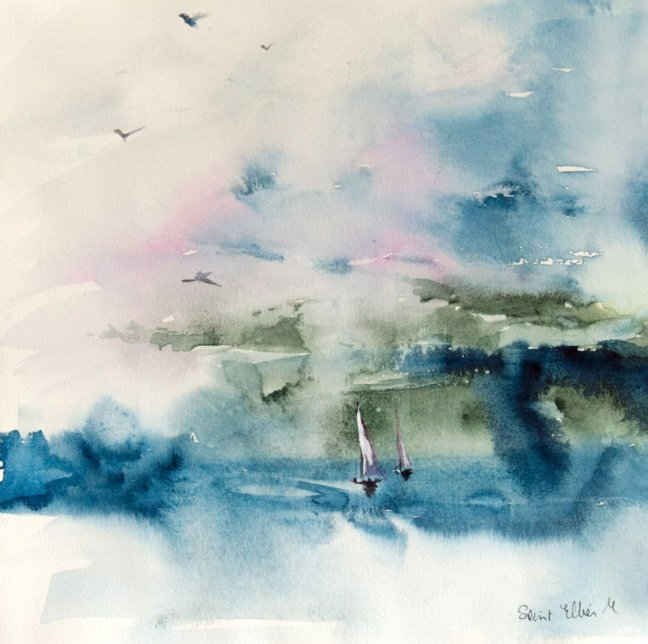 Seascape Watercolor Painting by Martine Jacquel Saint Ellier - France
