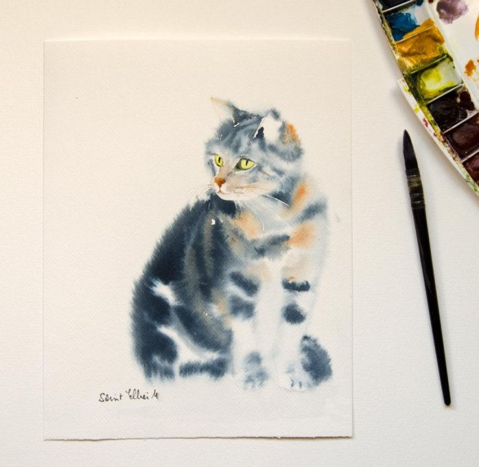 Cat Watercolor Painting by Martine Jacquel Saint Ellier - France