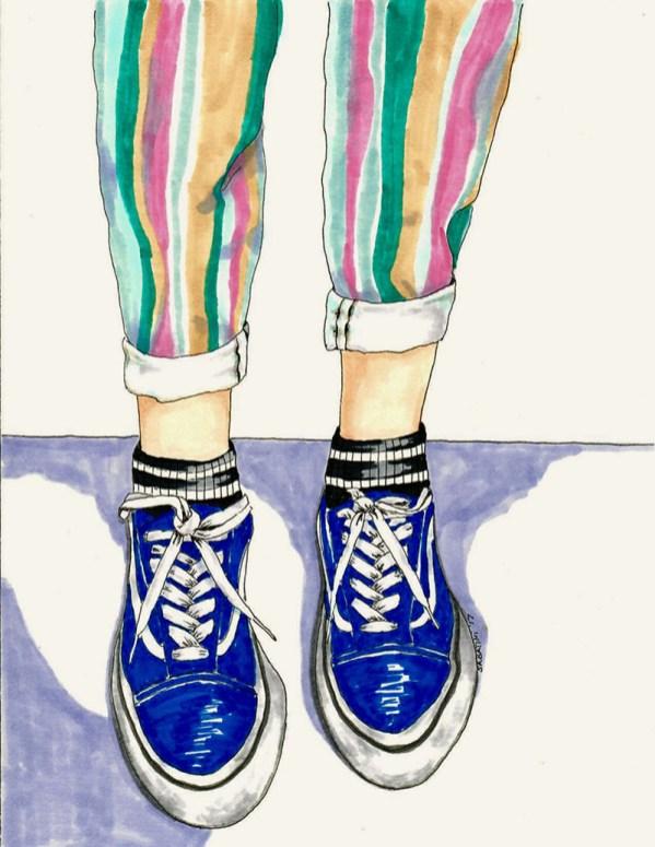 Sneakers Woman Watercolor by Bernadette Sabatini - Doodlewash