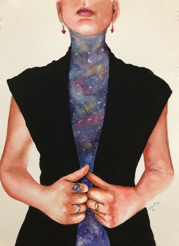 Universe Within Woman Watercolor by Bernadette Sabatini - Doodlewash