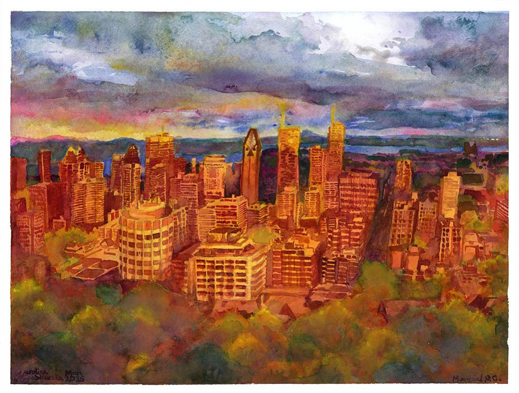 Montreal From Mont Royal During Sunset - Watercolor by Karolina Szablewska - Doodlewash