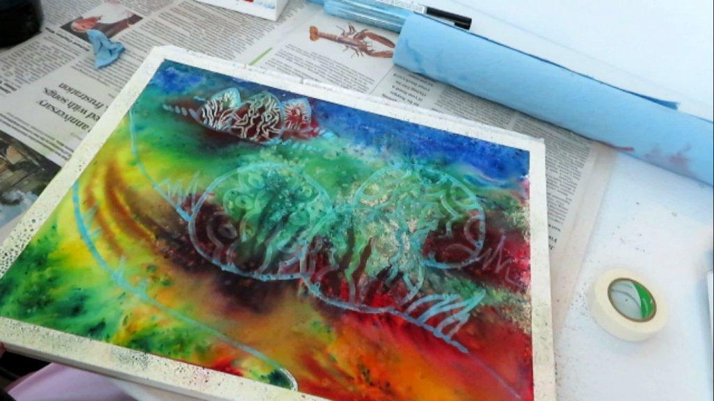Batik Style Watercolor Painting - Let Dry - Doodlewash