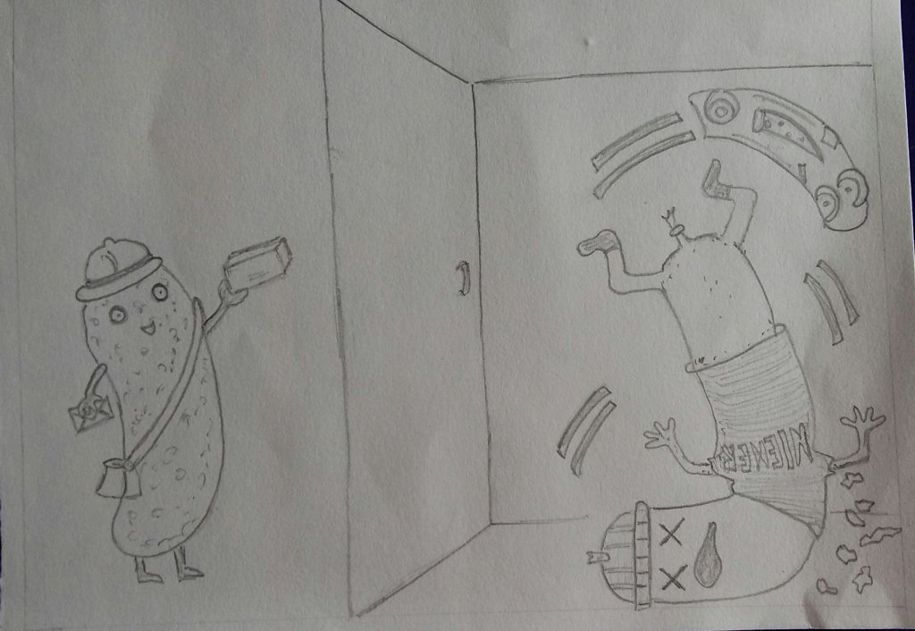 A fun scene between sausages. Weiner falls from the skateboard in excitement to open the door on Sal