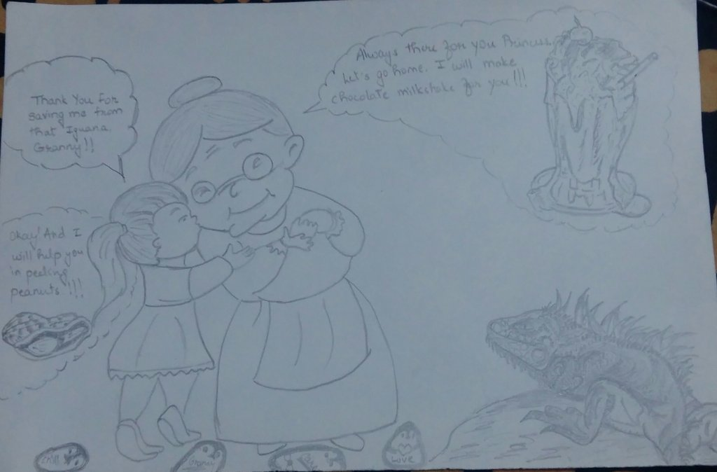 I have depicted a scene between a granddaughter and her grandma. The sketch includes IguanaAwareness