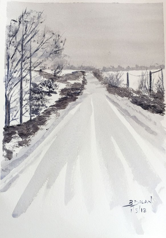 Culmullen Road Snow Watercolor by Bernadette Tully Dolan - Doodlewash