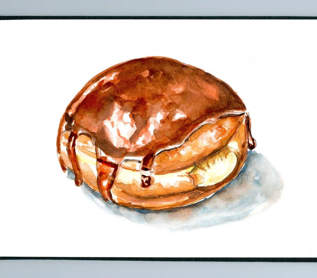 Day 14 - Cream Filled Doughnut Day Watercolor Boston Cream - Doodlewash