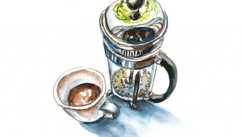 Day 23 - Coffee Press and Cup - Paint What You Love Day - Doodlewash