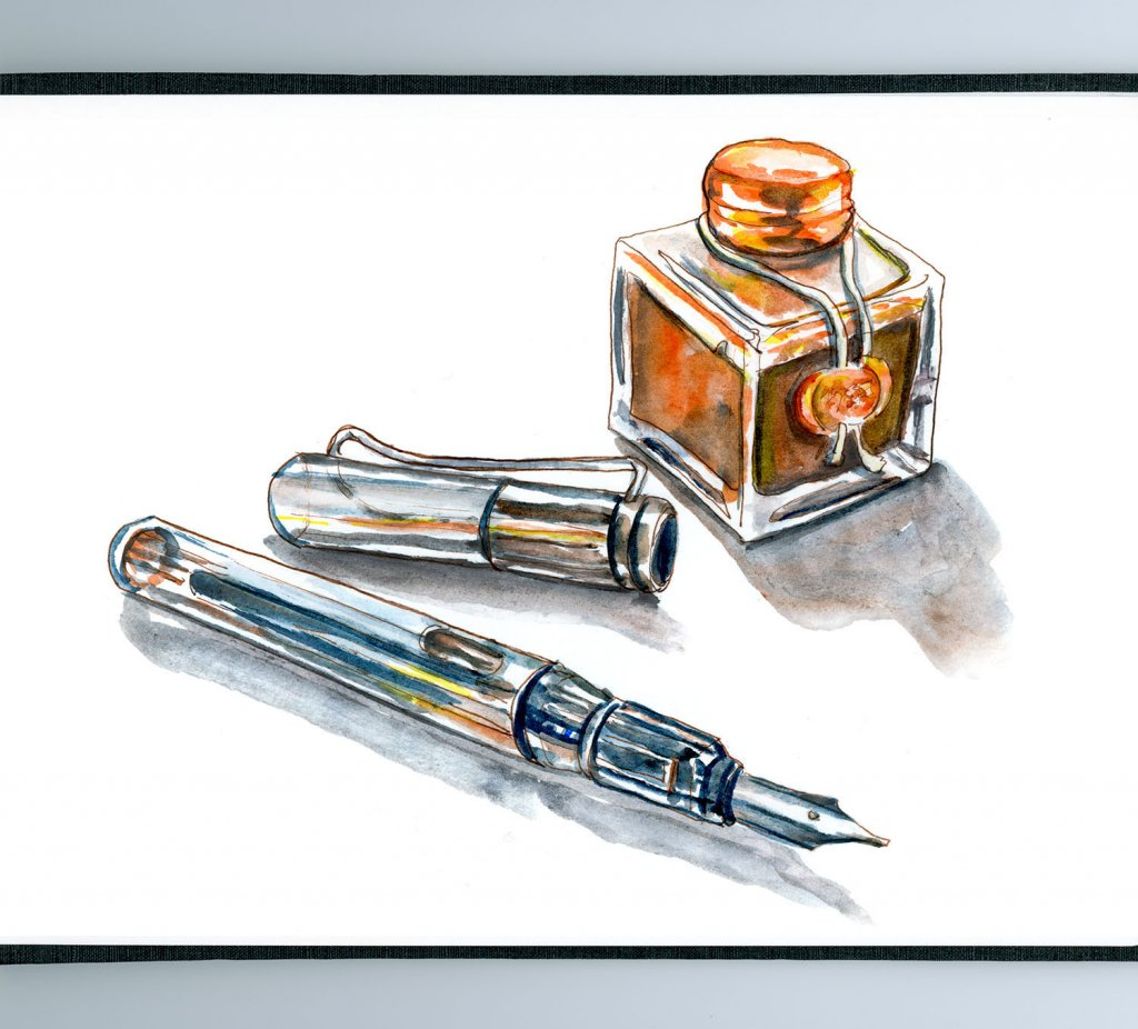 Day 26 - Love Note Day Pen and Ink Watercolor - Doodlewash