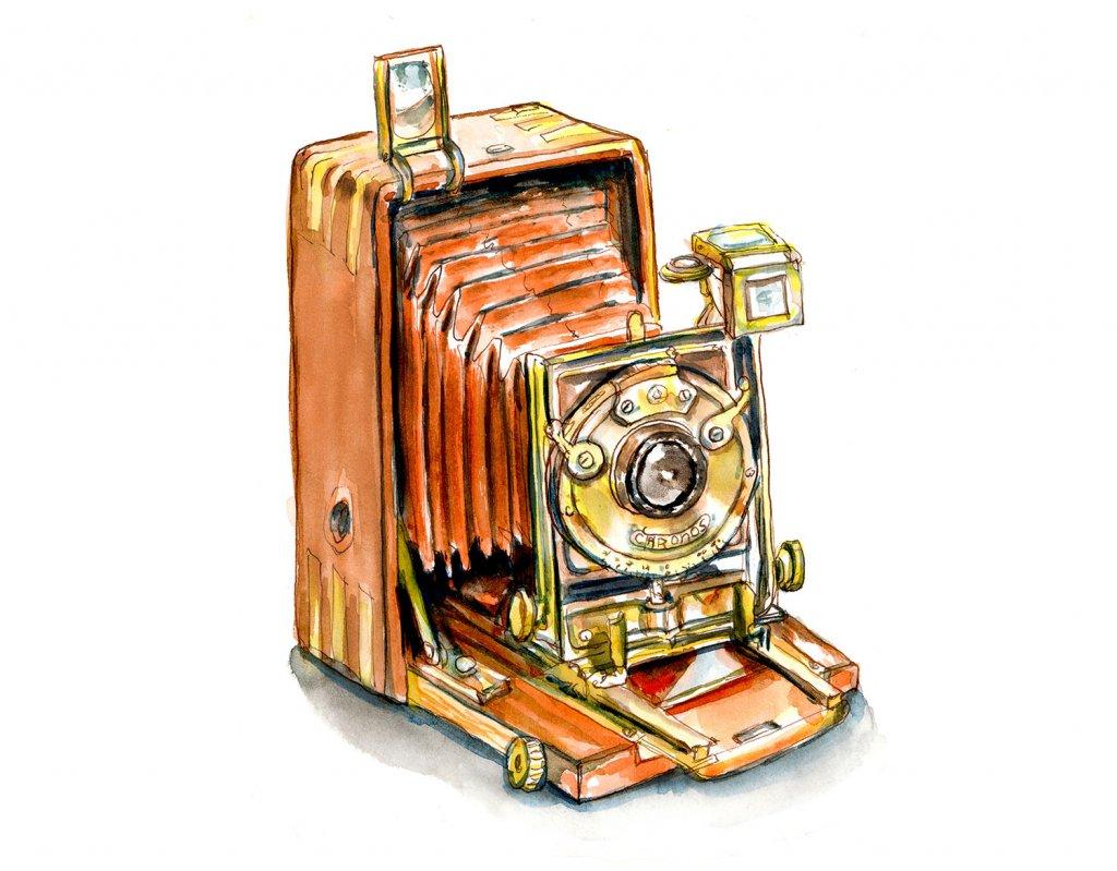 Day 27 - Ancestor Appreciation Day Vintage Bellows Camera Watercolor - Doodlewash