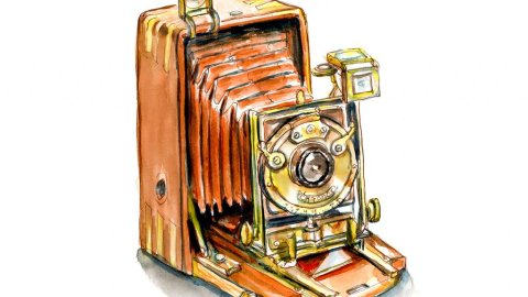 Day 27 - Ancestor Appreciation Day Vintage Bellows Camera Watercolor - Doodlewash