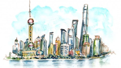 Day 3 - Skyscraper Day Shanghai Skyline Watercolor - Doodlewash