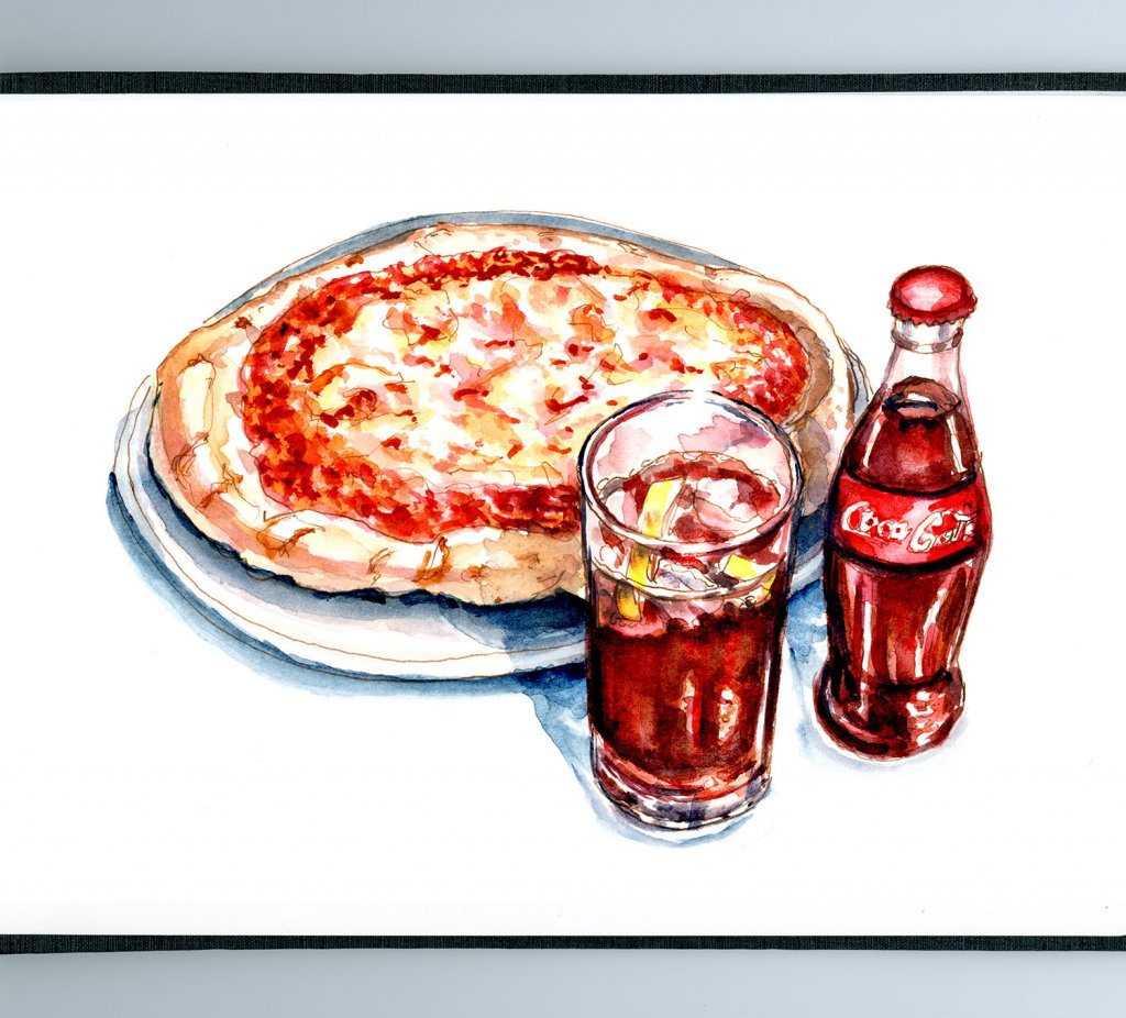 Day 5 - Cheese Pizza Day With Coke Glass Bottle Watercolor - Doodlewash