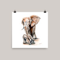Elephant Watercolor Print
