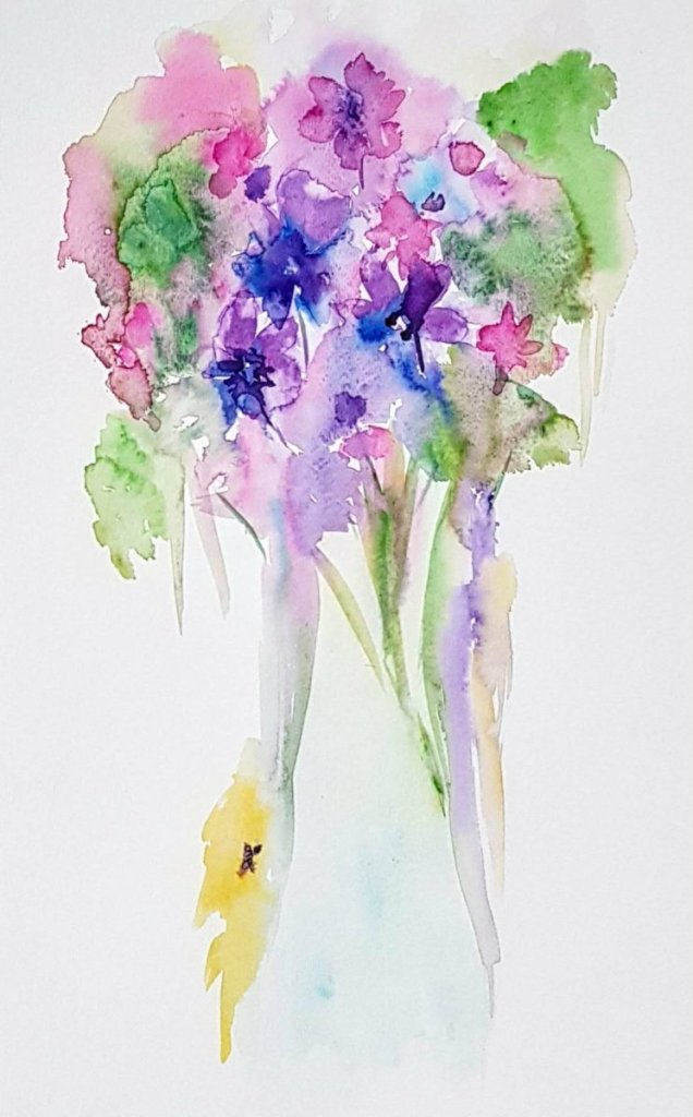 """Another exercise from Jean Haine's book, I call it """"Flowers in a Vase à la Jean Haines&"""