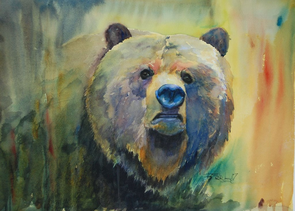 Watercolor Painting by Brad Schulze - Mama Bear - Doodlewash