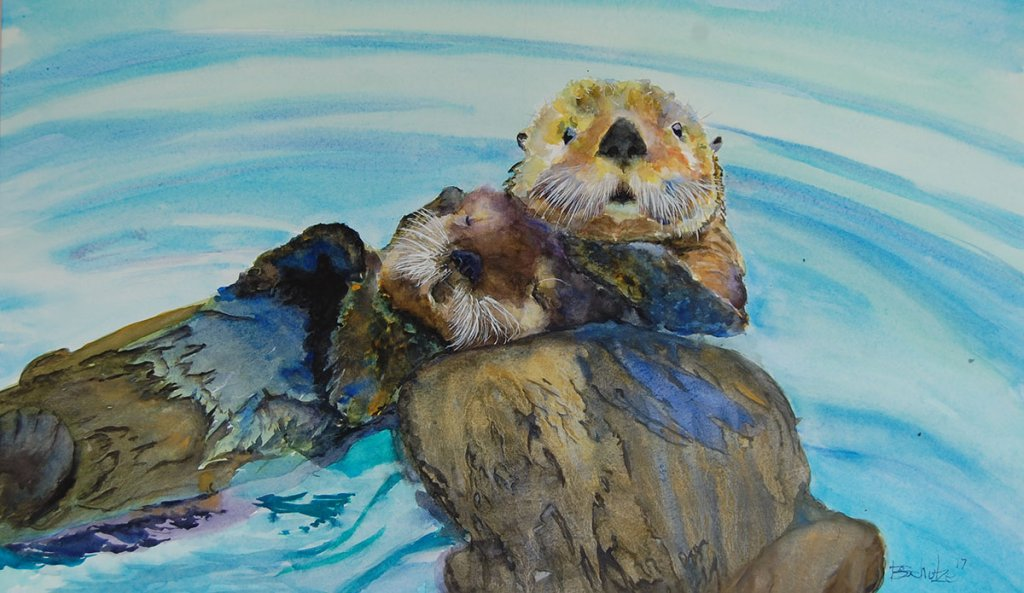 Watercolor Painting by Brad Schulze - Sea Otters - Doodlewash