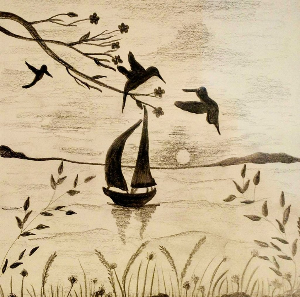 Painting by Sonia Dutta - Silhouette Boats Birds Doodlewash