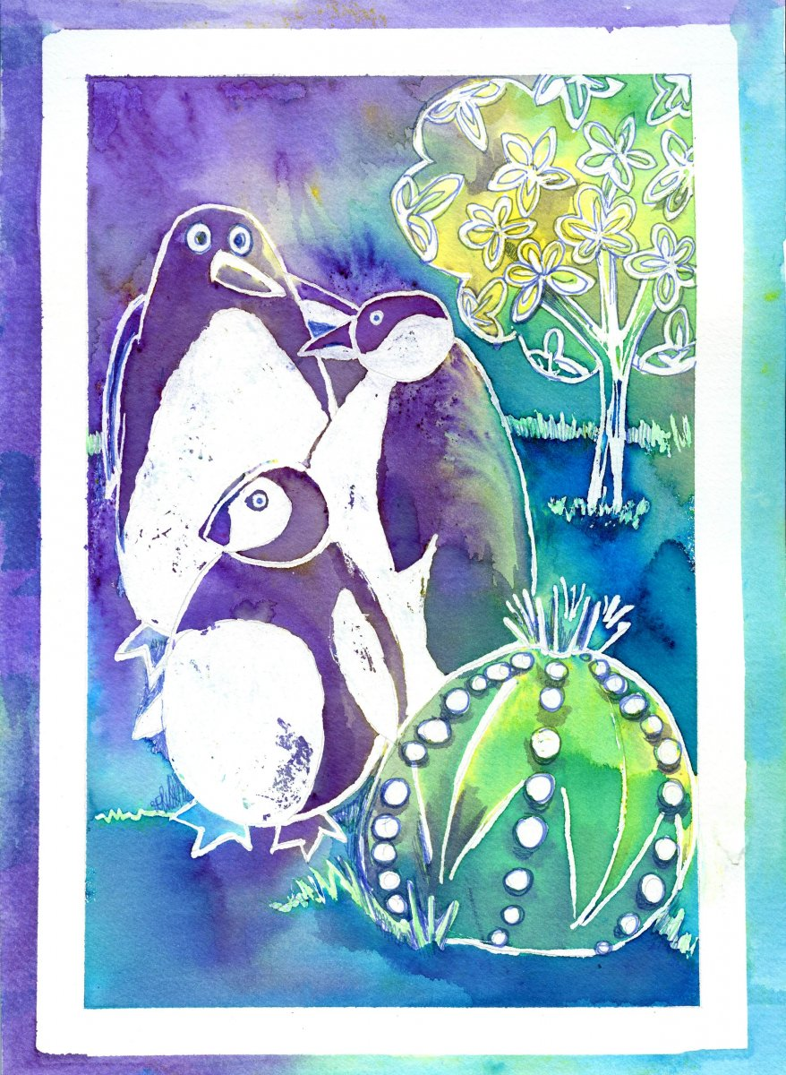 Batik-Style Painting in Watercolor - Penguins - Doodlewash