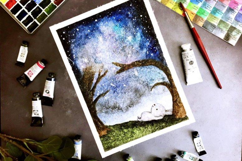 Bunny Galaxy Watercolor by Rubeena Ianigro - Doodlewash