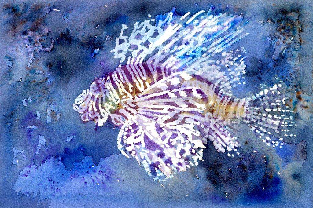 Batik-Style Painting in Watercolor - Scorpion Fish - Doodlewash