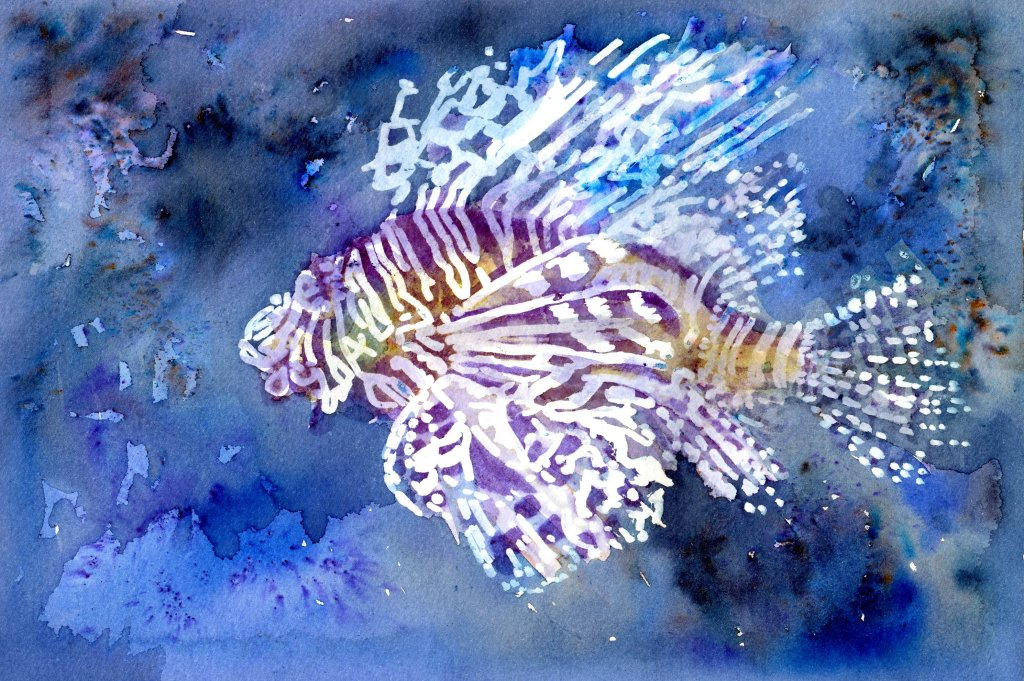 Batik-Style Painting in Watercolor - Scorpion Fish - Doodlewash
