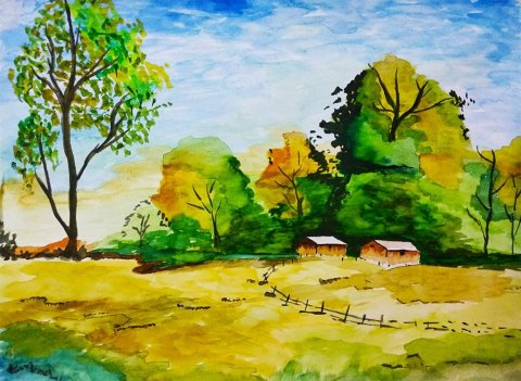 Watercolor Landscape Painting by Sonia Dutta - Doodlewash