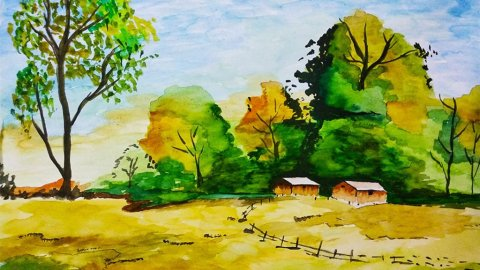 Watercolor Landscape Painting by Sonia Dutta - Doodlewash