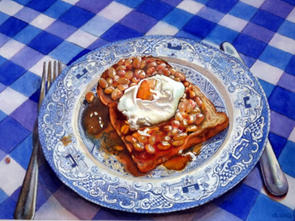 Beans On Toast Breakfast Watercolor Painting by Angela Emsen-West