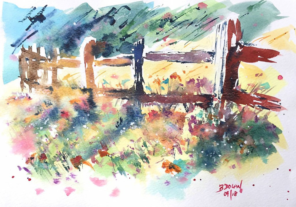 Fence Watercolor by Bernadette Tully Dolan - Doodlewash