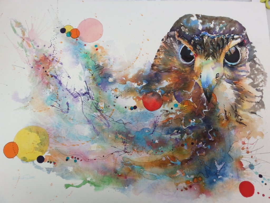 Owl Watercolor Painting by Angela Emsen-West