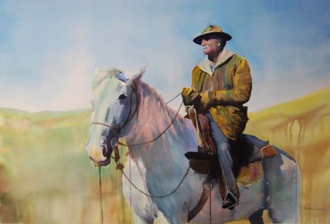 Watercolor Painting by Brad Schulze - Old Cowboy - Doodlewash