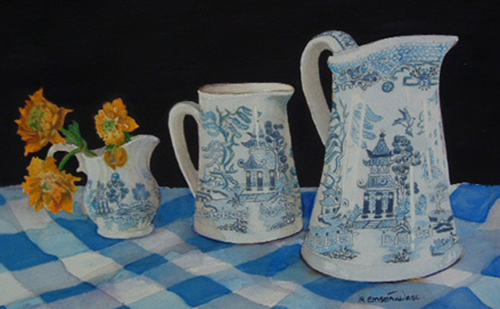 Willow Jugs - Watercolor Painting by Angela Emsen-West