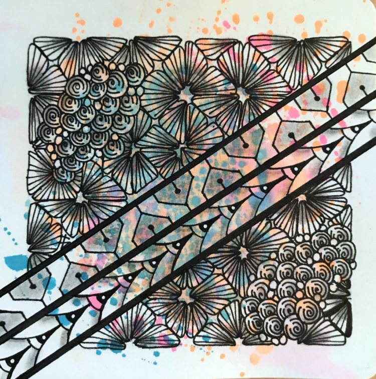 Day 17 and 18 of Inktober. on a Hahnemühle YouTangle.art Tile, with Zensations Technical Pens from